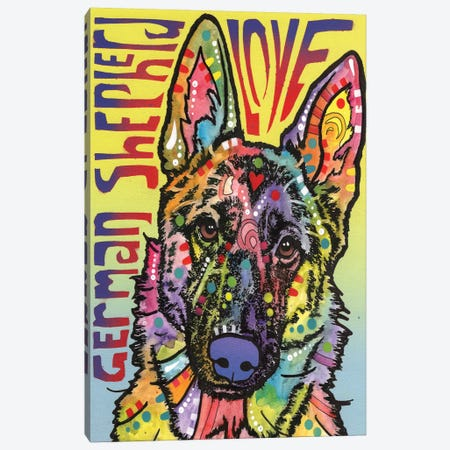 German Shepherd Love Canvas Print #DRO218} by Dean Russo Canvas Wall Art