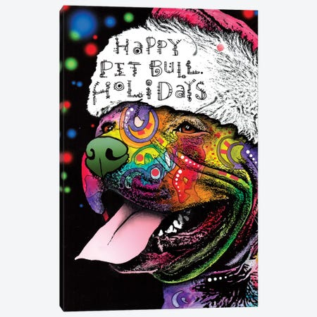 Christmas Pit Bull Canvas Print #DRO220} by Dean Russo Canvas Art Print
