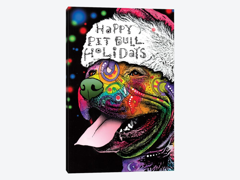 Christmas Pit Bull by Dean Russo 1-piece Canvas Artwork