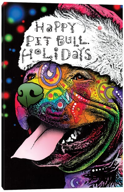 Christmas Pit Bull Canvas Art Print
