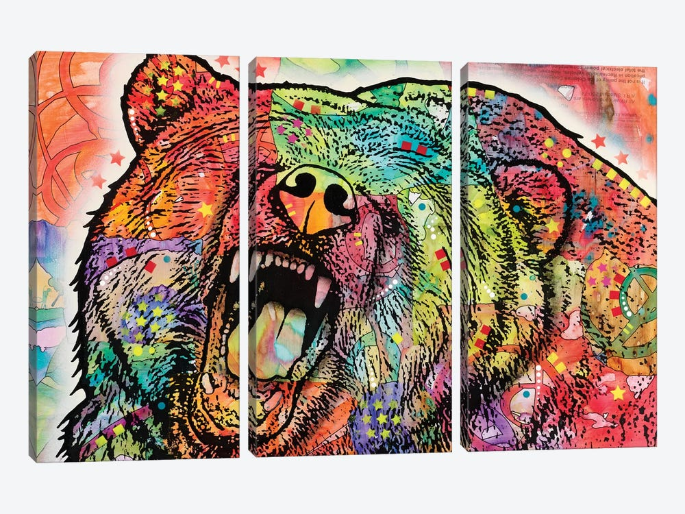 Grizzly by Dean Russo 3-piece Canvas Wall Art