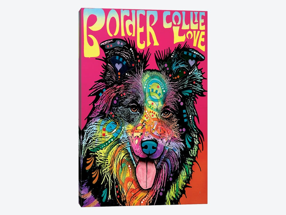 Border Collie Love by Dean Russo 1-piece Art Print