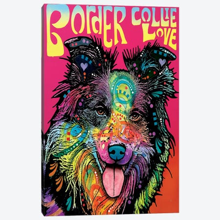Border Collie Love Canvas Print #DRO243} by Dean Russo Canvas Art Print