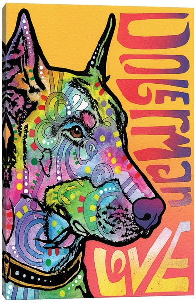 Doberman Love Canvas Print #DRO246