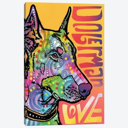 Doberman Love Canvas Print #DRO246} by Dean Russo Canvas Art