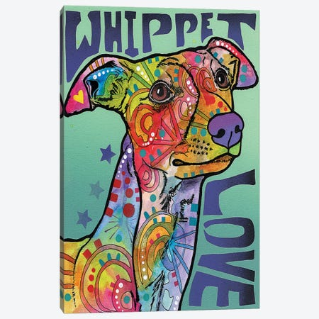Whippet Love Canvas Print #DRO254} by Dean Russo Canvas Print