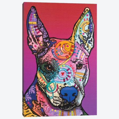 Annabelle, Pitbull Mix Canvas Print #DRO345} by Dean Russo Art Print
