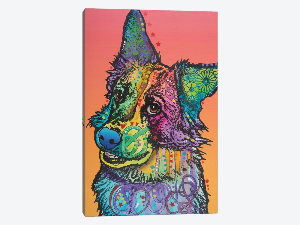 Axel, Collie Mix by Dean Russo 1-piece Canvas Print