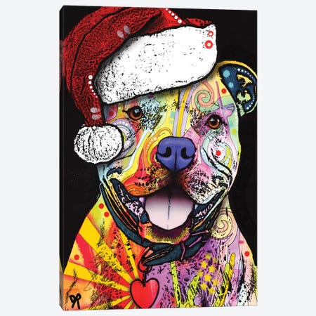 Beware Of Pit Bulls Christmas Edition Canvas Print #DRO353} by Dean Russo Canvas Print