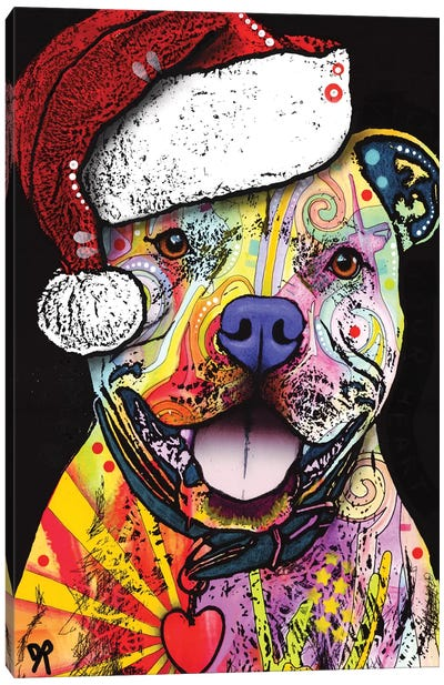 Beware Of Pit Bulls Christmas Edition Canvas Art Print