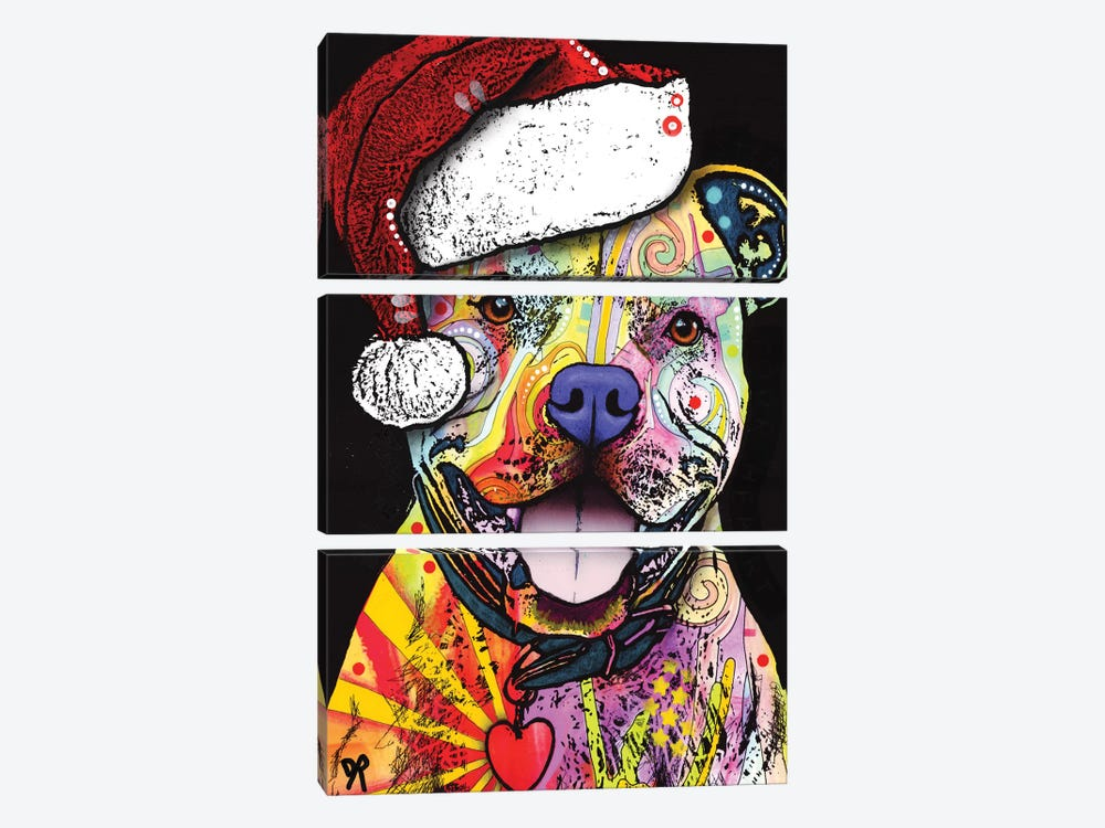 Beware Of Pit Bulls Christmas Edition by Dean Russo 3-piece Canvas Print