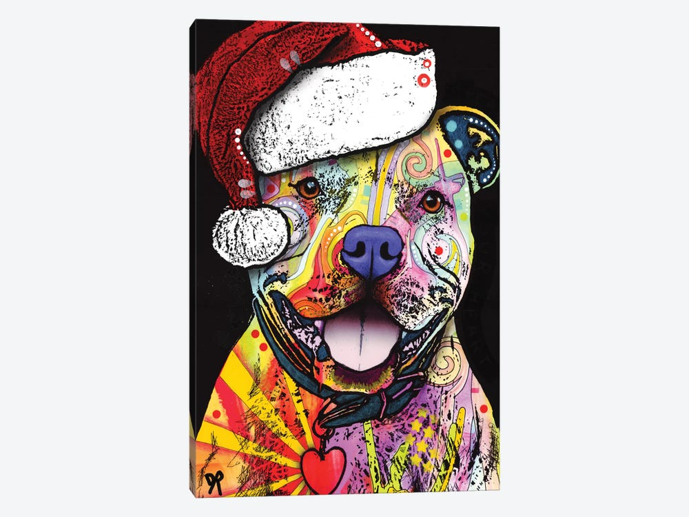 Beware Of Pit Bulls Christmas Edition by Dean Russo 1-piece Canvas Print