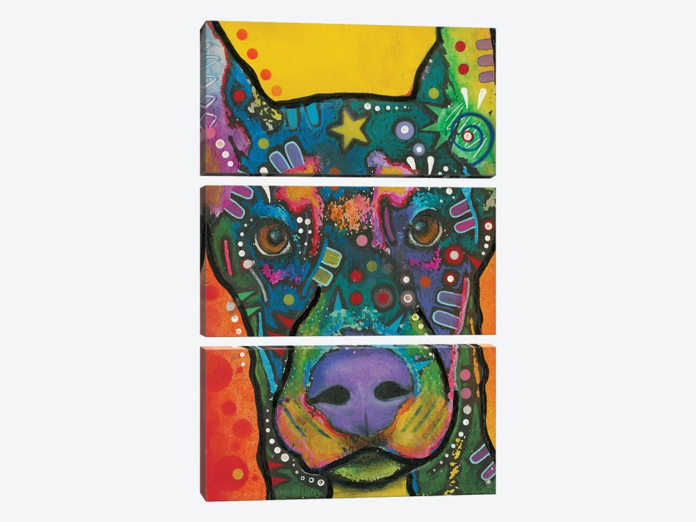 Doberman Pinscher by Dean Russo 3-piece Canvas Print