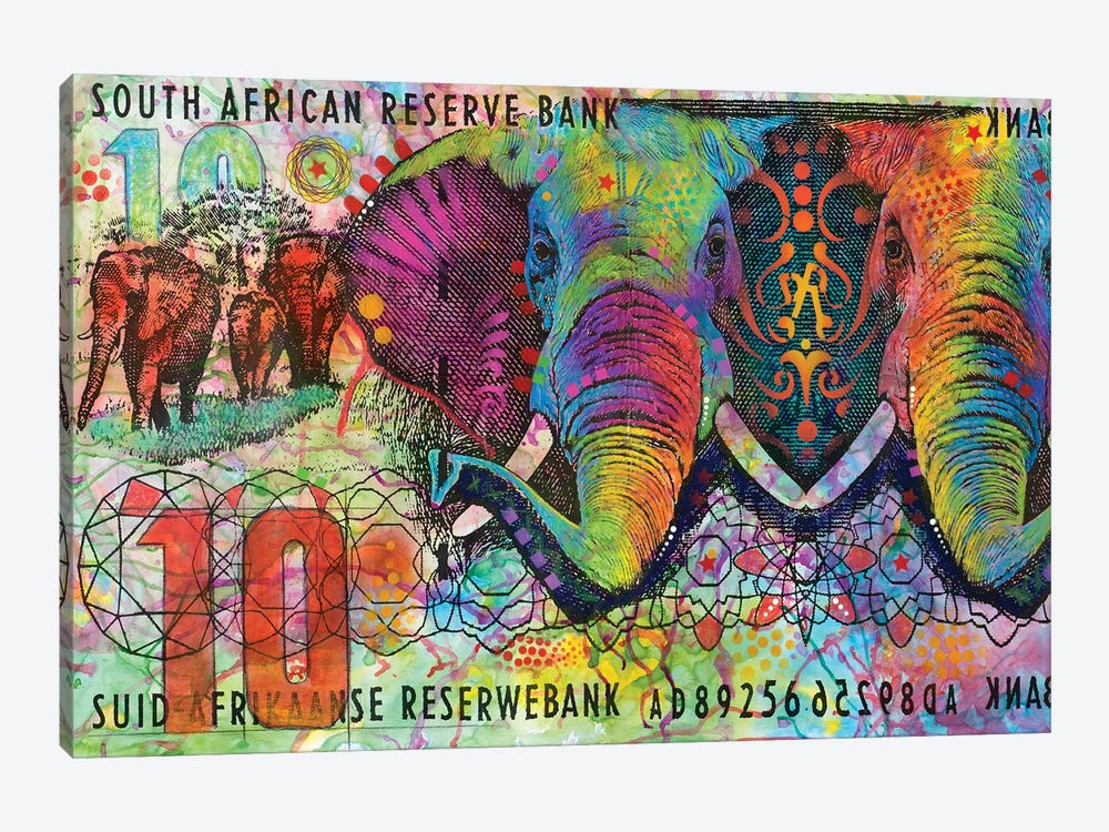Elephants, South African Reserve Bank by Dean Russo 1-piece Canvas Art