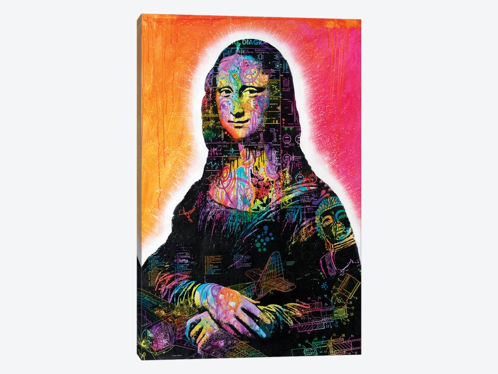 Mona Lisa Peaking by Dean Russo 1-piece Canvas Artwork
