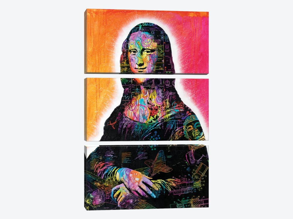 Mona Lisa Peaking by Dean Russo 3-piece Canvas Wall Art
