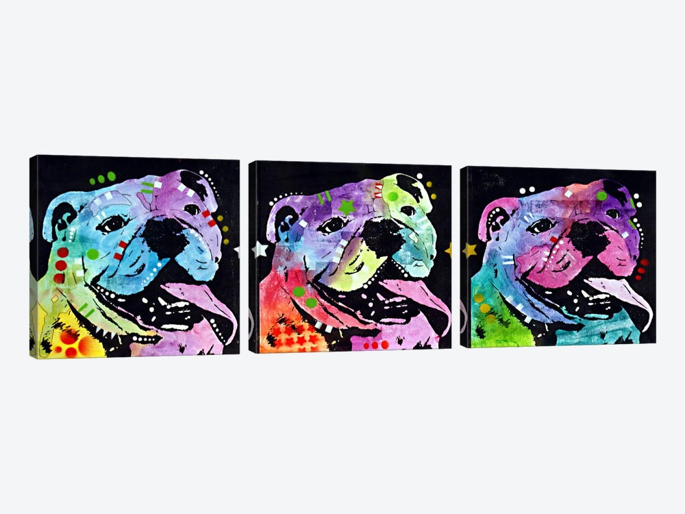 3 Bulldogs by Dean Russo 3-piece Canvas Print