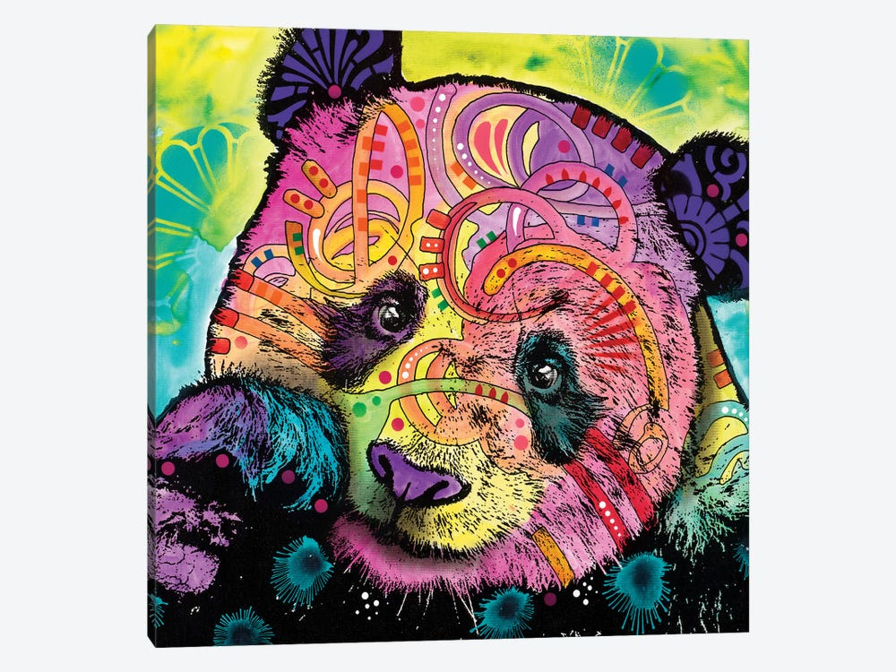 Psychedelic Panda by Dean Russo 1-piece Canvas Art Print
