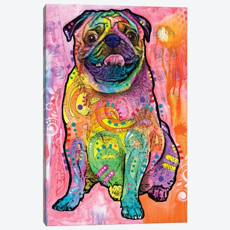 Pugs & Kisses Canvas Print #DRO497} by Dean Russo Canvas Art Print