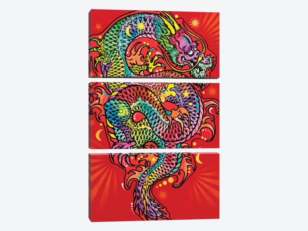 Red Dragon by Dean Russo 3-piece Canvas Print