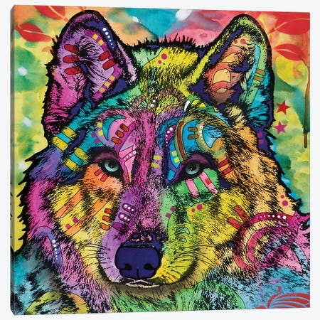 The Stare Of The Wolf Canvas Print #DRO540} by Dean Russo Canvas Artwork