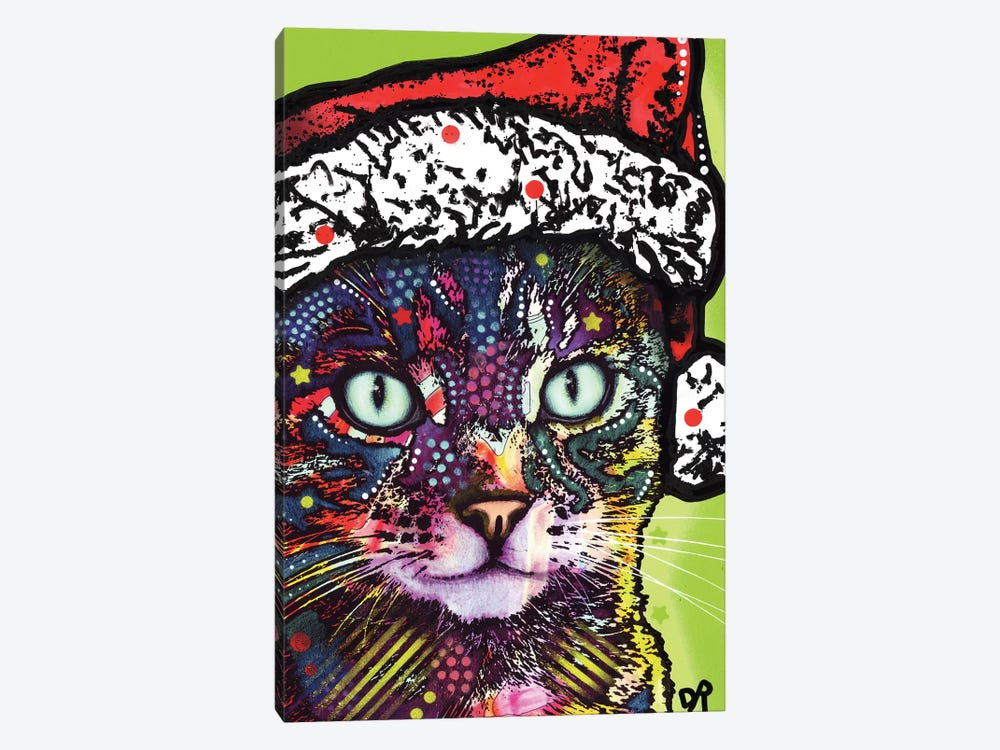 Watchful Cat Christmas Edition by Dean Russo 1-piece Art Print