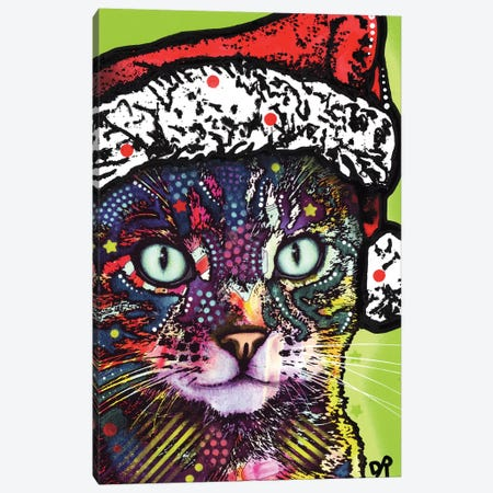 Watchful Cat Christmas Edition Canvas Print #DRO555} by Dean Russo Canvas Art