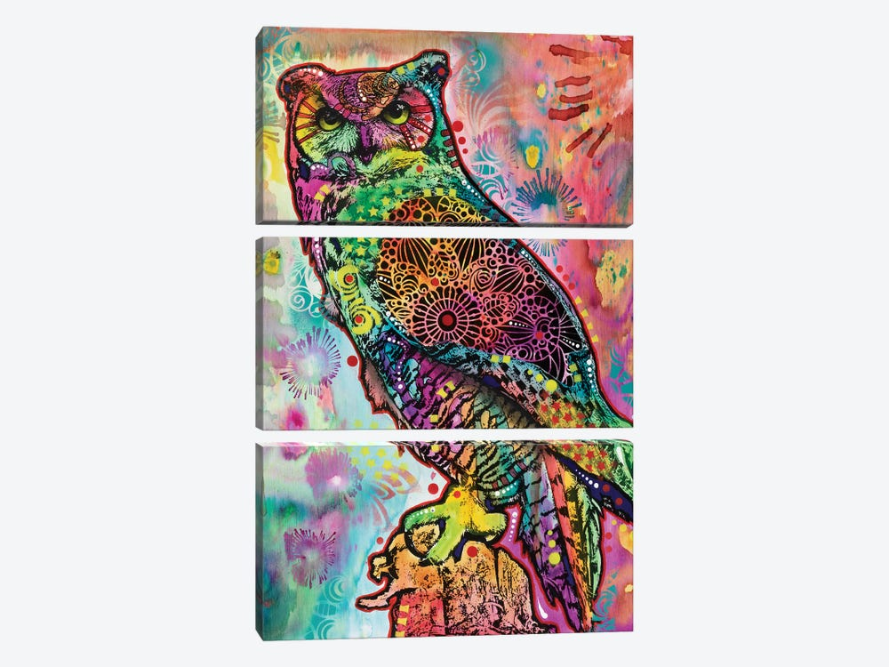 Wise Owl by Dean Russo 3-piece Canvas Art