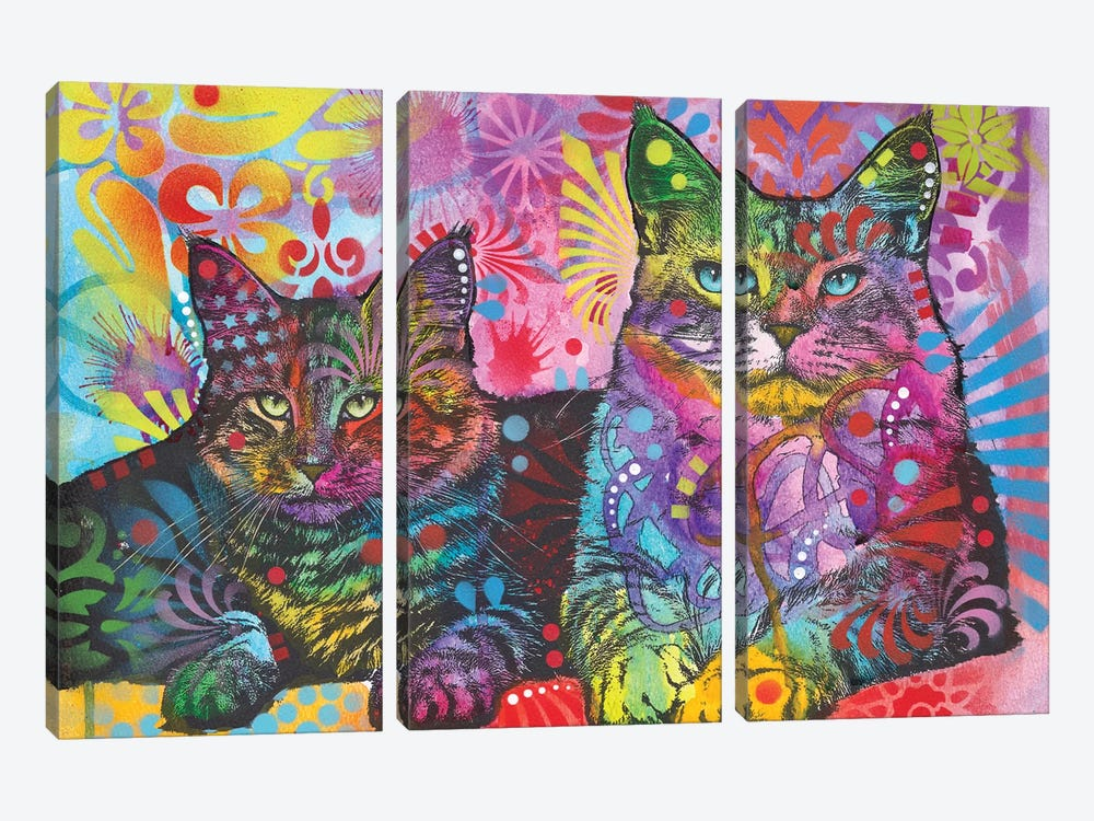 2 Cats by Dean Russo 3-piece Canvas Wall Art