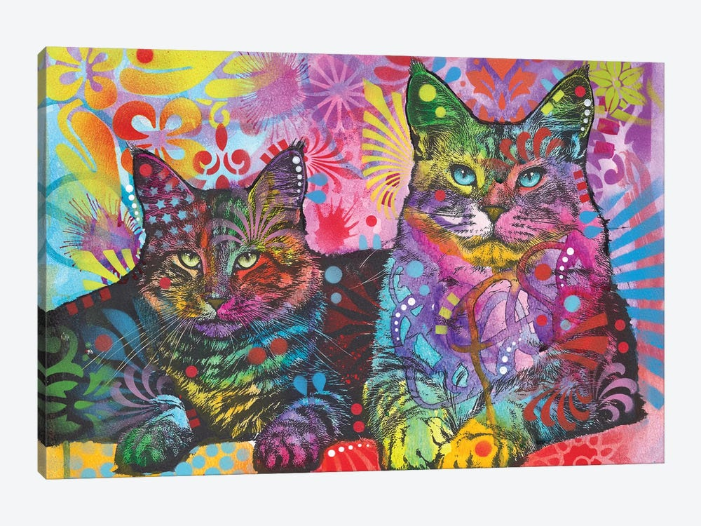 2 Cats by Dean Russo 1-piece Canvas Wall Art