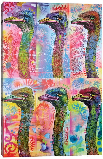 6 Ostriches Canvas Art Print