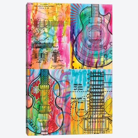 Four Guitars Canvas Print #DRO577} by Dean Russo Canvas Artwork