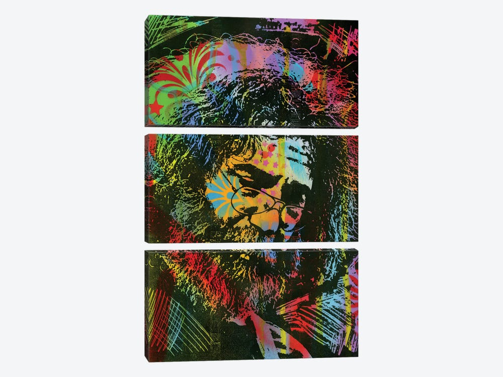 Jerry Garcia Playing by Dean Russo 3-piece Canvas Artwork