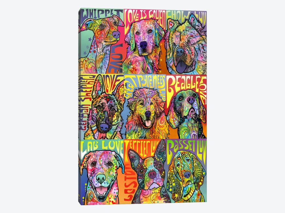 Nine Up Of Dogs by Dean Russo 1-piece Canvas Wall Art