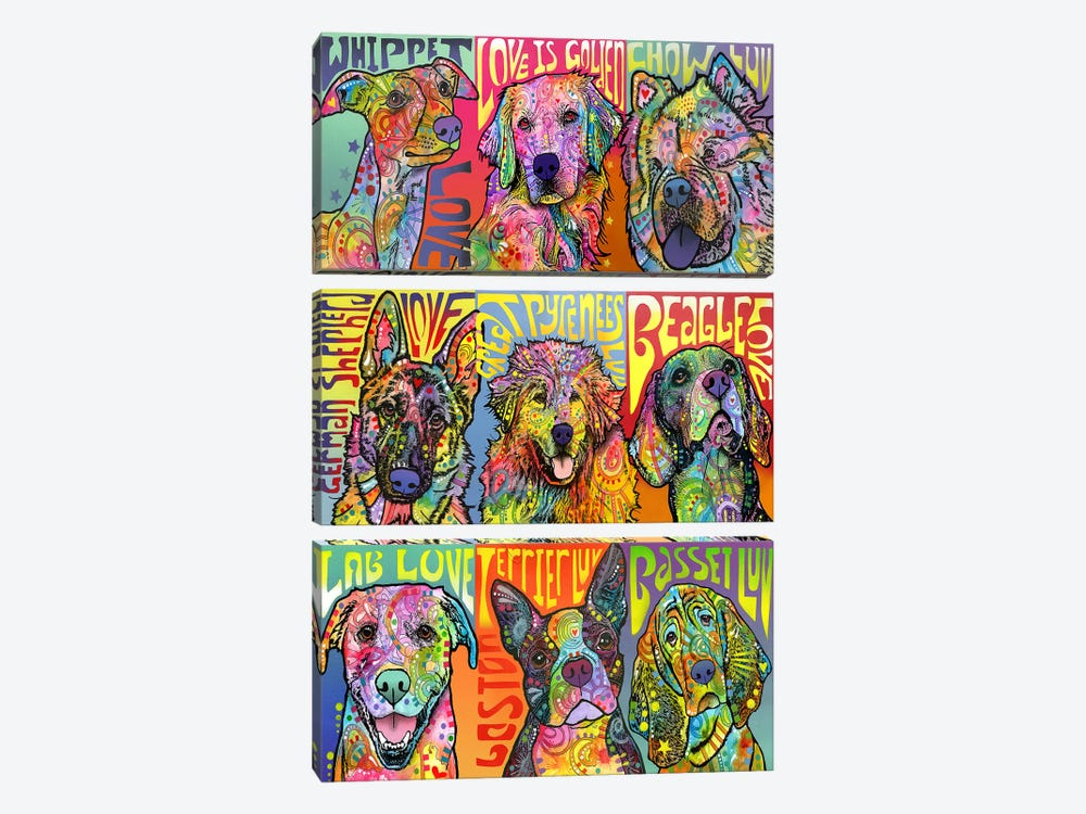 Nine Up Of Dogs by Dean Russo 3-piece Canvas Artwork