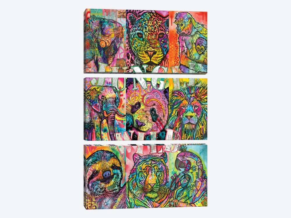 Nine Up Of Jungle Wild by Dean Russo 3-piece Canvas Print