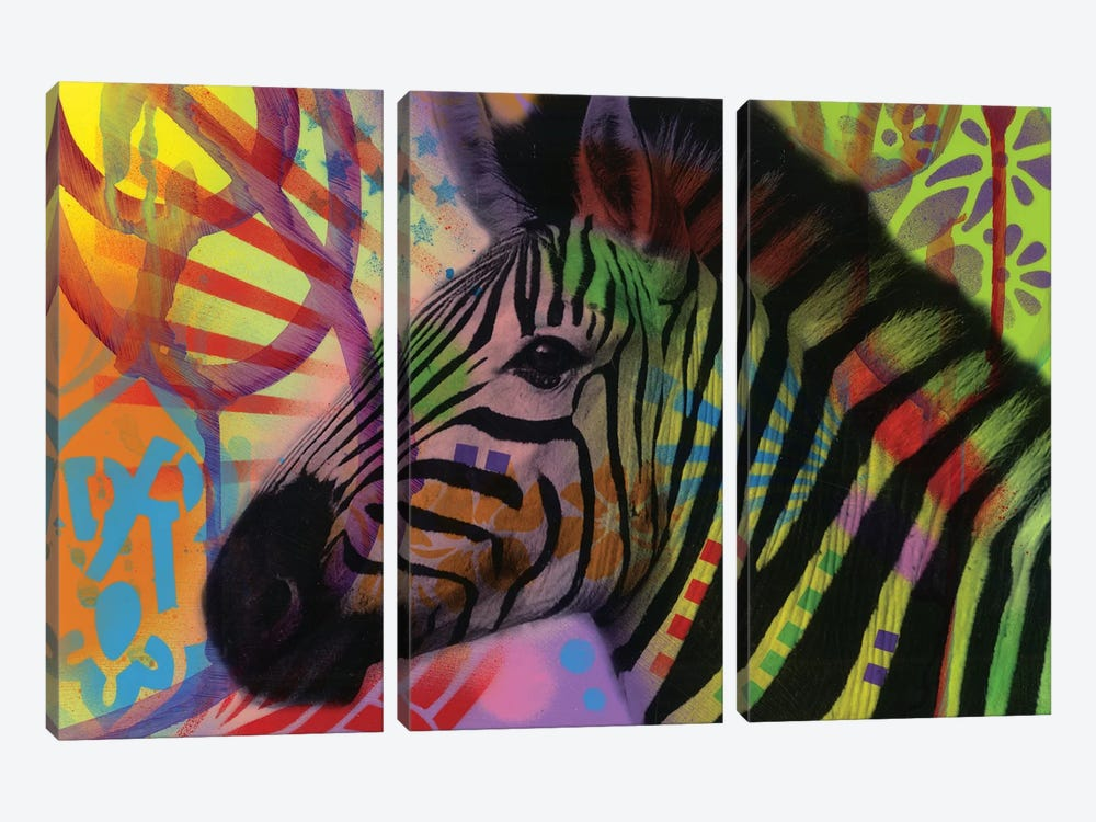Zebra by Dean Russo 3-piece Canvas Artwork