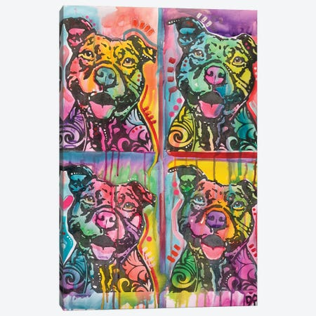 4 Happy Pitties Canvas Print #DRO650} by Dean Russo Canvas Artwork