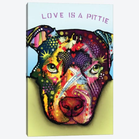Love Is A Pittie Canvas Print #DRO680} by Dean Russo Canvas Art Print
