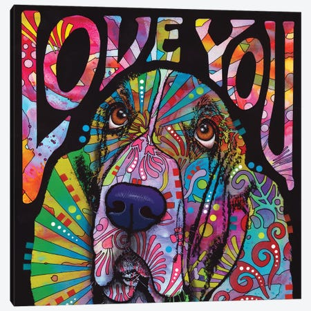 Love You Basset Canvas Print #DRO682} by Dean Russo Art Print