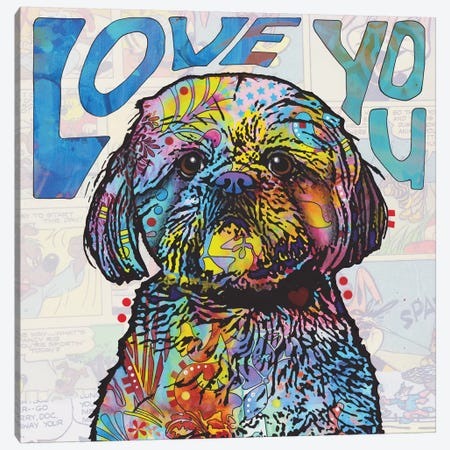 Love You Shih Tzu Canvas Print #DRO684} by Dean Russo Canvas Art