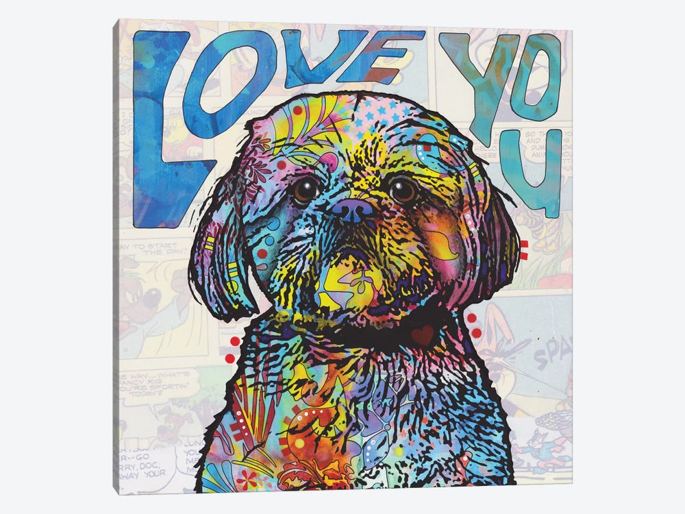 Love You Shih Tzu by Dean Russo 1-piece Canvas Art Print