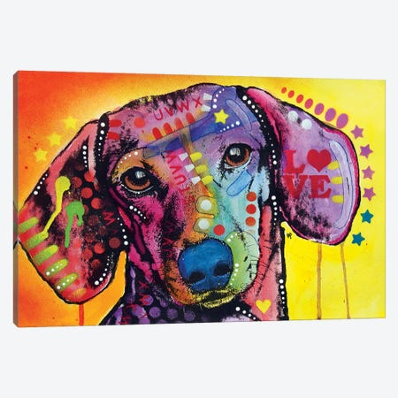 Tilt Dachshund Love Canvas Print #DRO728} by Dean Russo Canvas Artwork