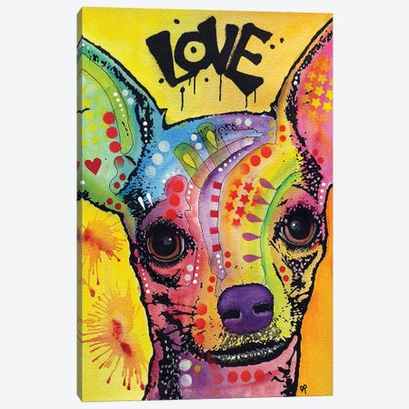 Chihuahua Drip Love Canvas Print #DRO735} by Dean Russo Canvas Wall Art