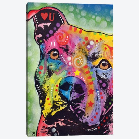 Thoughtful Pit Bull White Bubble Canvas Print #DRO771} by Dean Russo Art Print