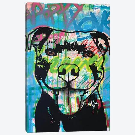 Happy Love Pitbull Canvas Print #DRO926} by Dean Russo Canvas Art Print