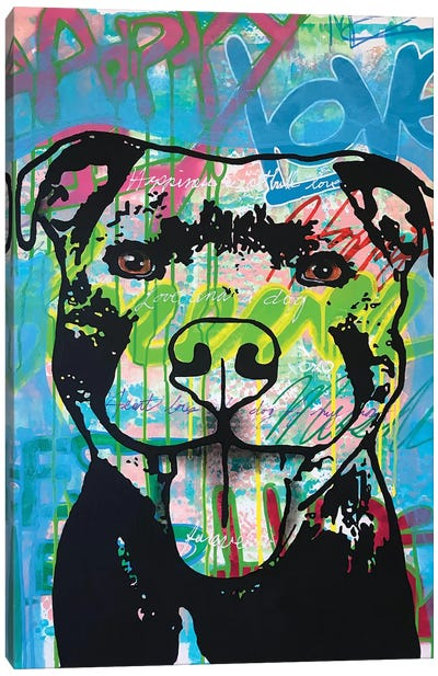 Happy Love Pitbull Canvas Art Print