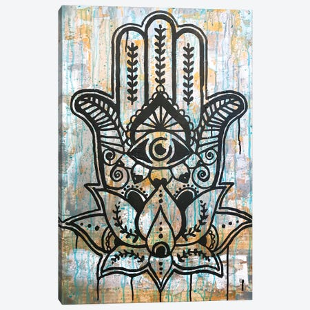 Hamsa Lotus Canvas Print #DRO940} by Dean Russo Canvas Artwork