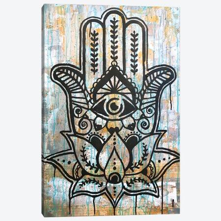 Hamsa Lotus Canvas Print #DRO940} by Dean Russo Canvas Artwork