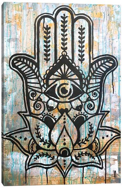 Hamsa Lotus Canvas Art Print